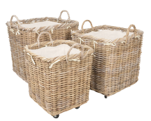 Claridge Rattan Baskets with Wheels